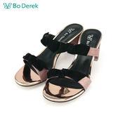 【Bo Derek 】一字蝴蝶結金屬絲高跟涼拖鞋-粉色