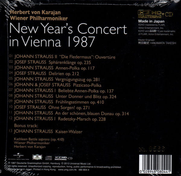 【停看聽音響唱片】【K2HD】Karajan.Wiener philharmoniker:New Year's Concert in Vienna 1987