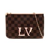 【台中米蘭站】全新品 Louis Vuitton 經典logo標誌Damier印花帆布雙層拉鍊斜背包(N60254-咖)