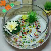 小型水族箱辦公室桌面創意圓形玻璃小魚缸大號烏龜缸迷你金魚缸