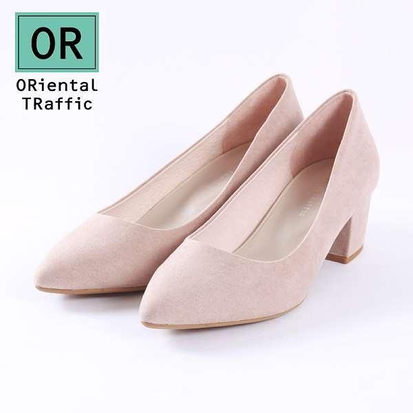 【ORiental TRaffic】百搭亮色尖楦粗跟鞋-優雅米