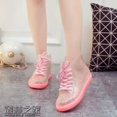 時尚雨鞋果凍加絨成人透明保暖雨靴膠鞋防水鞋防滑韓國學生女短筒【叢林之家】