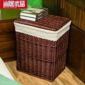 藤編臟衣籃帶蓋編織家用衣服收納筐箱