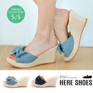 [Here Shoes]蝴蝶結夏日編織風跟高9cm楔型涼拖鞋-ASN8522