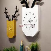 掛鐘 北歐創意鹿掛鐘 客廳臥室靜音時鐘木質方形掛表現代簡約家居壁掛 數碼人生