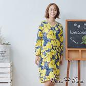 【Tiara Tiara】百貨同步 花繪V領寬版長袖洋裝(黃)