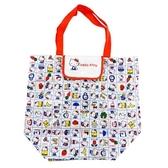 小禮堂 Hello Kitty 折疊尼龍環保購物袋 環保袋 側背袋 (紅白 格線) 4973307-50465