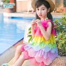兒童夏裝女童連身裙度假沙灘夏季小女孩寶寶吊帶海邊洋氣公主裙子『櫻花小屋』
