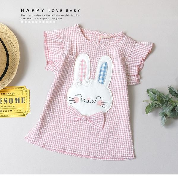 純棉 可愛格紋微笑小兔上衣 春夏童裝 女童上衣 女童短T 女童棉T 女童短袖 女童T恤