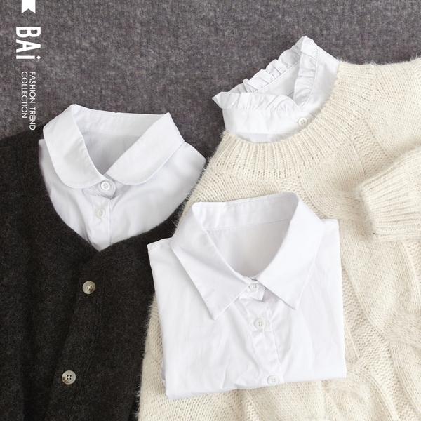 領片 素白翻領&荷葉領襯衫造型搭配假領子-BAi白媽媽【308626】