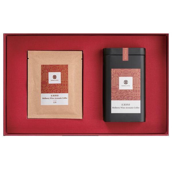 【紅鼎咖啡】精選紅蜜咖啡禮盒(紅蜜酒香咖啡豆100g+濾掛5包)