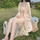 蕾絲魚尾吊帶仙女連身裙女春2020新款 薄款慵懶防曬針織開衫 新年禮物