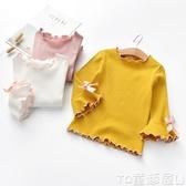 女童T恤女童打底衫春秋裝新款韓版洋氣純色棉上衣中小童長袖寶寶T恤促銷好物