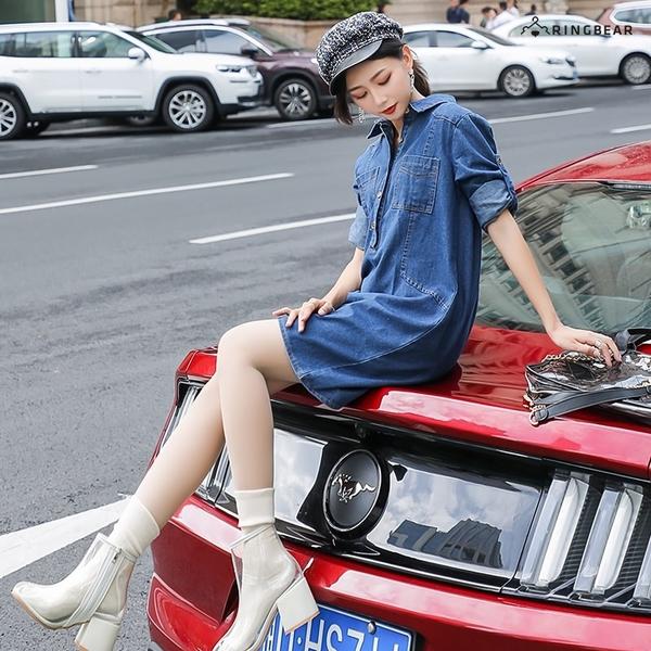休閒洋裝--率性簡約排扣拼接口袋反褶扣寬鬆襯衫領長袖牛仔連身裙(藍L-2L)-A388眼圈熊中大尺碼◎