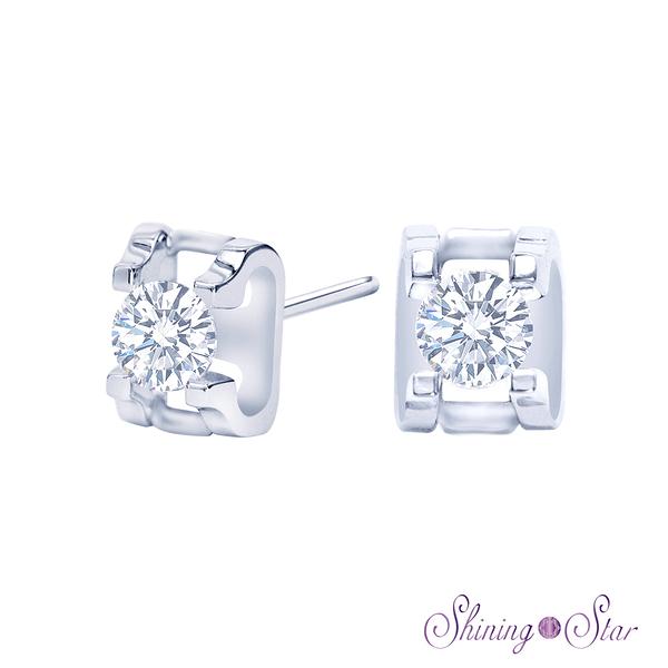 經典頂級晶鑽白K金耳環 Shining Star K金 飾品 耳環(擁有八心八箭精細切工)