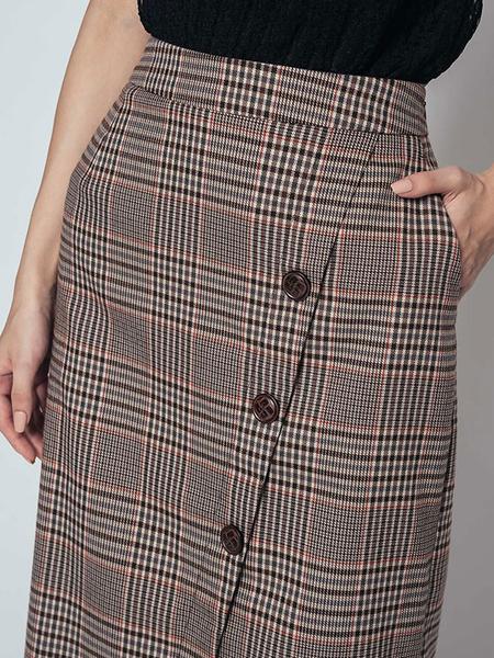 秋冬7折[H2O]不對稱一片圍裹交叉設計顯瘦直筒長裙 - 黃/深藍/駝/咖格色 #9652005