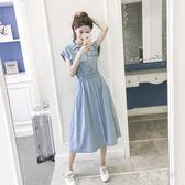 中大尺碼牛仔洋裝 淺藍色短袖連身裙韓版修身仙女裙過膝襯衫長裙 DR28940【衣好月圓】