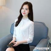 2018秋季新款韓版白色蕾絲衫女長袖立領蝴蝶結打底衫上衣雪紡衫潮 時尚芭莎