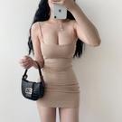 歐美風洋裝 歐美風雙層棉質性感低胸修身夜店超短顯瘦包臀吊帶連身裙-Ballet朵朵