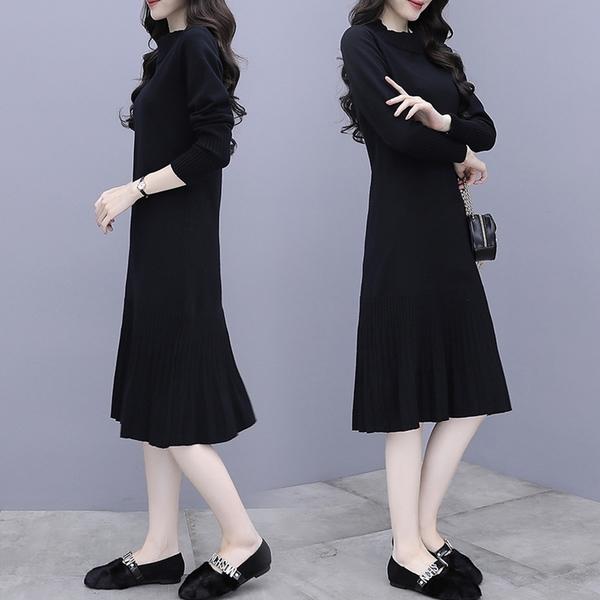 微購【A5207】下擺皺褶針織連身裙 M-4XL