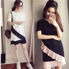 寬鬆黑白撞色荷葉邊圓領短袖洋裝 (黑/粉...