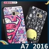 三星 Galaxy A7 2016版 蠶絲紋彩繪保護套 軟殼 卡通塗鴉 輕薄簡約款 矽膠套 手機套 手機殼