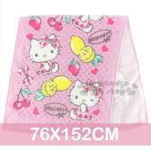 〔小禮堂〕Hello Kitty 大浴巾《粉.水果.愛心.76x152cm》100%純棉 4716171-25987