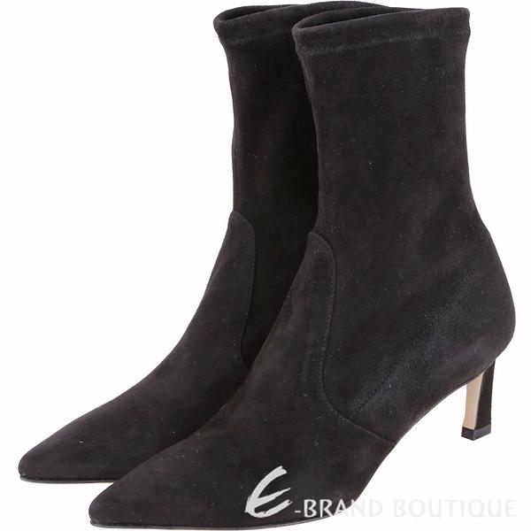 Stuart Weitzman RAPTURE 55 麂皮尖頭中筒靴(黑色) 1910039-01