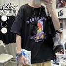 短T恤 玩偶熊熊印花潮流五分袖短袖上衣【NLQB-T34】