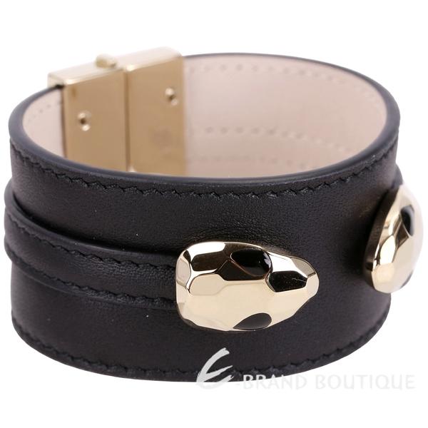 BVLGARI 寶格麗 Serpenti Hypnotic 雙蛇頭黑色牛皮寬版手環 1840063-01