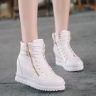 鬆糕鞋 內增高鞋秋季女鞋新款短靴高跟厚底內增高單鞋女韓版高幫皮鞋春秋鞋子百搭