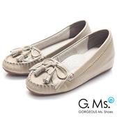 G.Ms. * Q彈新主張-流蘇蝴蝶結真皮內增高豆豆鞋*可可