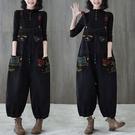 休閒牛仔褲 減齡印花背帶牛仔褲春裝2021新款時尚大碼連體褲洋氣休閑時髦長褲