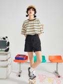 寬松短袖條紋t恤女夏日系復古上衣韓版【聚可愛】