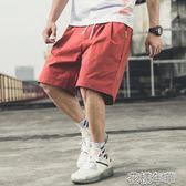短褲男夏季休閒褲男士寬鬆五分中褲夏裝薄款運動褲潮流大碼沙灘褲 花樣年華