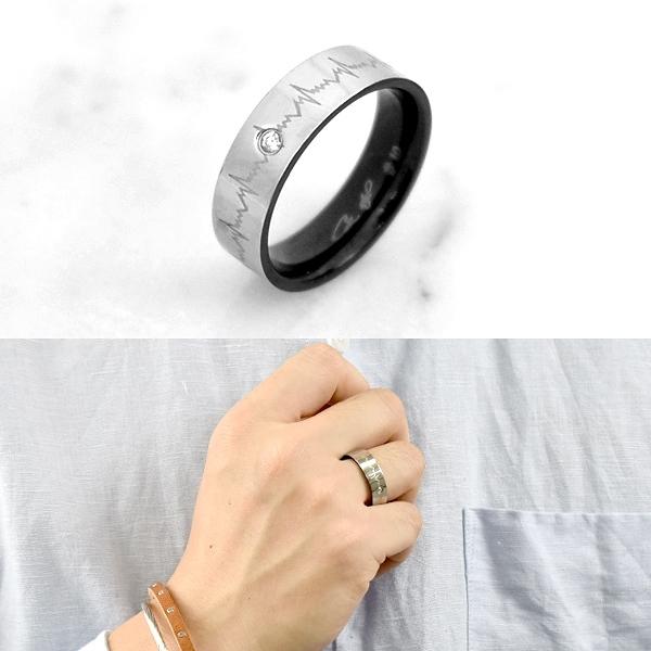 鋼戒 心電圖紋路單鑽戒指 NC235