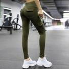 運動褲 新品外穿翹臀口袋健身褲女士運動訓練彈力緊身瑜伽褲蜜桃臀健美褲