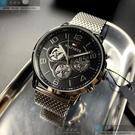 Tommy Hilfigher湯米希爾費格男女通用錶44mm黑色, 機械鏤空錶面銀色錶帶