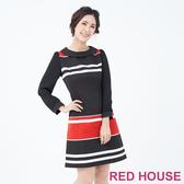 【RED HOUSE 蕾赫斯】翻領條紋洋裝(紅色)