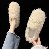 毛毛鞋女冬外穿冬季厚底加絨棉鞋2020秋冬新款平底白色羊羔豆豆鞋 雙十一全館免運