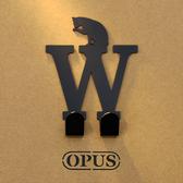 OPUS 歐式鐵藝壁飾掛勾/無痕掛鉤(當貓咪遇上字母W)黑