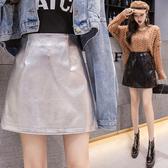 襯裙 素色 包臀裙 PU 褲裙 隱形拉鍊 A字裙 時尚 短裙【HS23.601】 icoca  10/03