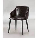 【森可家居】咖啡皮造型椅 8SB235-1 簡約工業風 餐椅