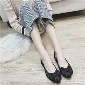 夏季尖頭蕾絲透氣女鞋子 舒適百搭黑色平跟平底工作大碼鏤空女鞋【免運直出】