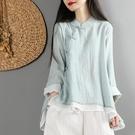 中國風復古文藝棉麻上衣女春裝寬松雙層紗中式盤扣禪意茶服襯衫