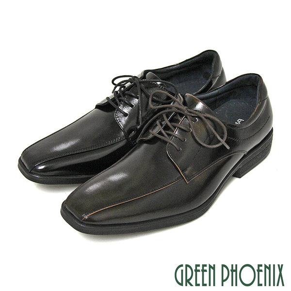 T9-19370 男款全真皮紳士鞋 亮面俐落線條綁帶全真皮商務/紳士皮鞋【GREEN PHOENIX】