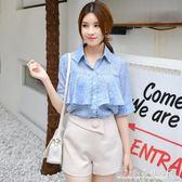 雪紡衫短袖夏裝心機襯衫設計感喇叭袖甜美上衣小清新碎花 『CR水晶鞋坊』