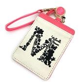 SHO-BI 皮革刺繡票卡夾附伸縮掛繩 迪士尼 米妮 剪影字母 桃_SB22164