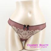 Chasney Beauty-凱特S-L蕾絲緞面丁褲(深紫)