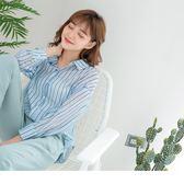 《AB7616-》清新直條紋配色反褶袖長板寬鬆襯衫 OB嚴選